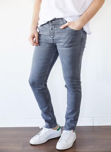 XHAN Yıkamalı Lacivert Slim Fit Jean Pantolon 1Kxe5-44254-48 Gri